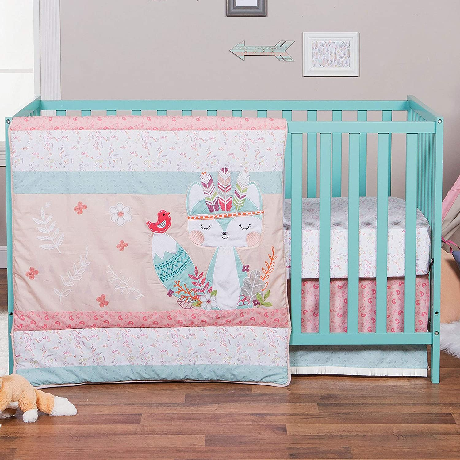 Wild Forever Pink Forest Popular brand in the world Memphis Mall Animal Theme Bed Crib Baby 4 Piece Girl