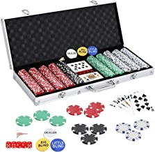 Smartxchoices 500 Poker Chip Set 11.5 Gram Clay Casino Game Poker Chips w/Aluminum Case, Cards, Dices, Blind Button for Te...
