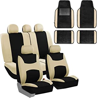 FH Group FB030115 Light & Breezy Cloth Seat Cover Set Airbag & Split Ready with Premium Carpet Floor Mats Beige/Black- Fit Most Car, Truck, SUV, or Van