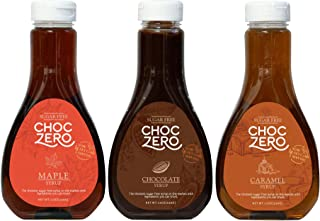 ChocZero Syrup Variety Pack. Sugar-free, Low Carb, No Preservatives. Thick and Rich. No Sugar Alcohol, Gluten-Free. 3 Bottles (Chocolate, Caramel, Maple)