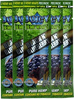 Juicy Jay Hemp Wraps Black and Blueberry (5 Packs, 2 Wraps Per Pack) Total 10 Wraps with ES Scoop Card