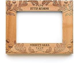 Cardtorial Little Acorns Natural Brown 10 x 8 Engraved Alder Wood Wall and Tabletop Frame