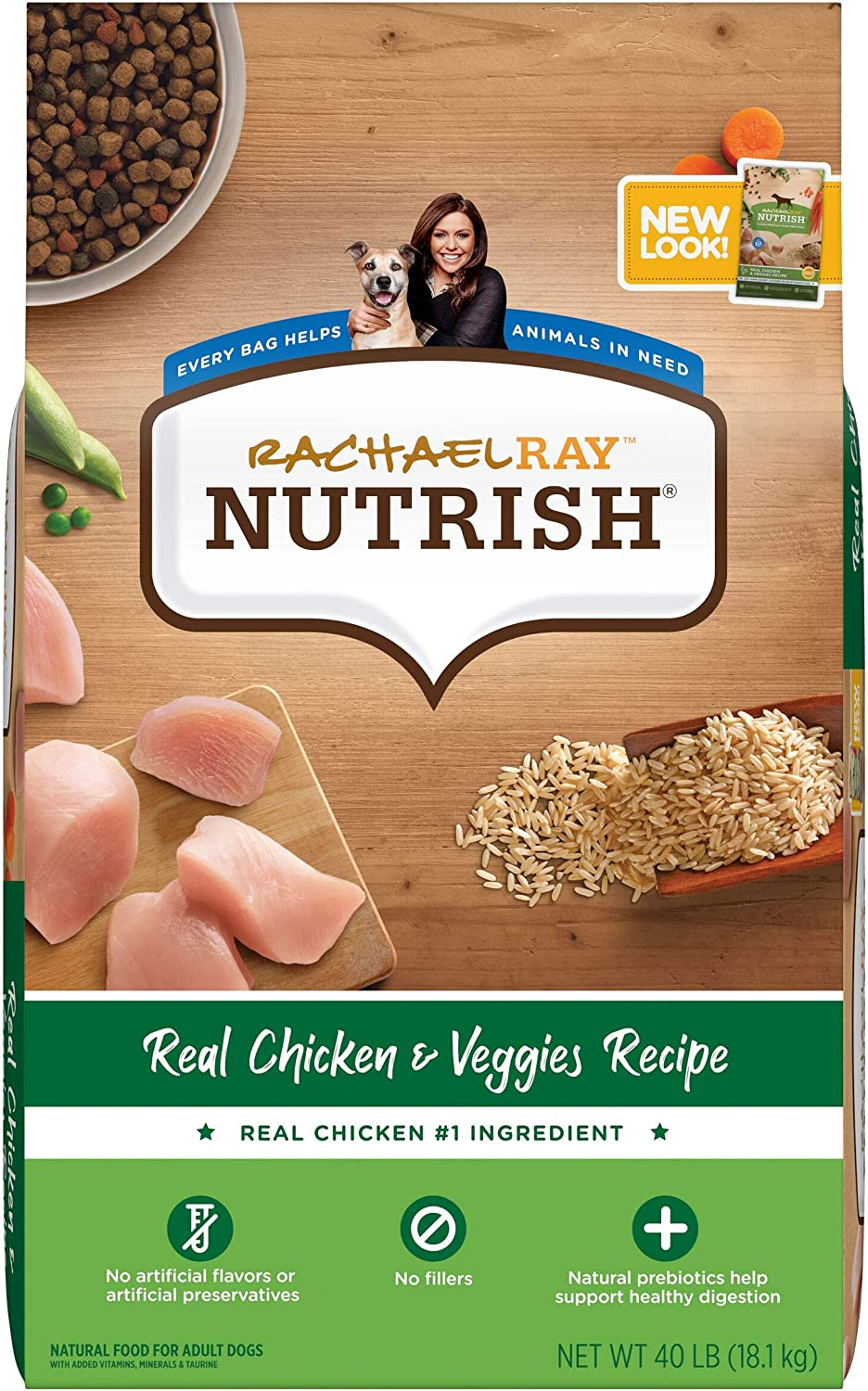 Rachael Ray Nutrish Premium Natural Dry Dog Food, Real Chicken & Veggies Recipe, 40 Pounds (Packaging May Vary): Pet Supplies