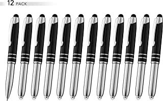 SyPen Stylus Pen for Touchscreen Devices, Tablets, iPads, iPhones, Multi-Function Capacitive Pen with LED Flashlight, Ballpoint Ink Pen, 3-in-1 Metal Pen, 12PK, Black