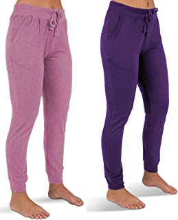 Sexy Basics Women's 2 Pack Soft French Terry Fleece Jogger Sweatpants
