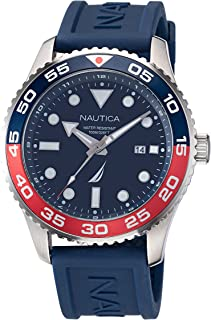 Nautica Men's Stainless Steel Quartz Silicone Strap, Blue, 22 Casual Watch (Model: NAPPBF144)