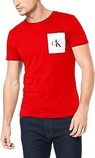 Calvin Klein Jeans Men's Monogram Pocket Slim Tee, Barbados Cherry/Bright White, S