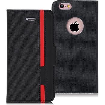 FYY スマホケース iPhone6sケース iPhone6ケース 薄型 軽量 手帳型 保護ケース カードポケット付き スタンド機能付き マグネット式 PUレザー【4.7インチ】 iPhone6s / 6 兼用
