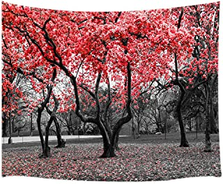 Mystic Garden Tapestry Gothic, Red Flower Trees Blossom in Black and White Landscape Scene Tapestry Wall Hanging, Farmhouse Woodland Tapestry Blankets for Bedroom Living Room Dorm Ceiling 60X40 in
