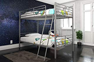 DHP Tailor Convertible Bunk bed, Converts to two Twin Beds, Twin-over-Twin, Silver