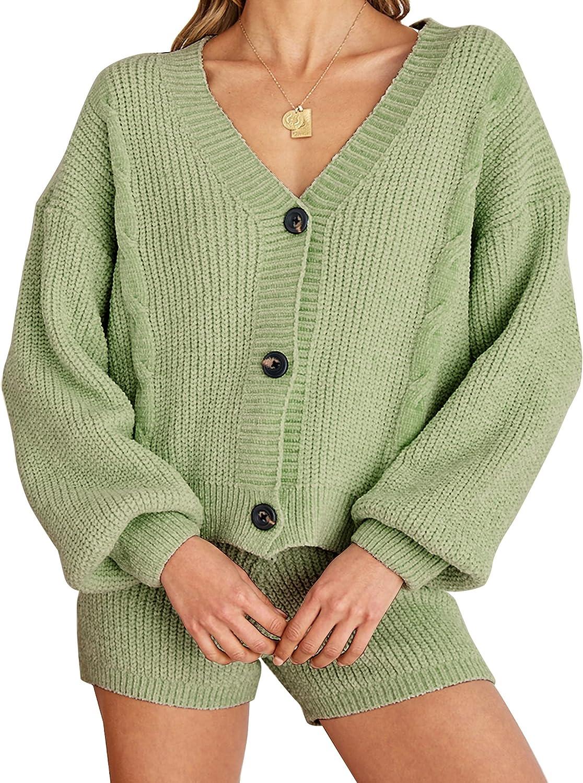 Frolitre Women's 2 Piece Sweat Short Set Knit Outfits Puff Sleeve Crop Top Open Front Button Down Cardigan Sweater Sweatsuit