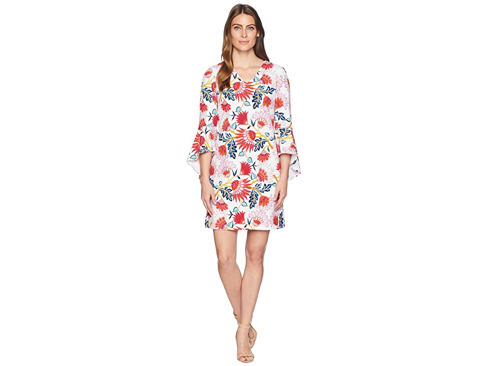 Tahari by ASL Printed Bell Sleeve Shift Dress (White/Coral/Navy) Women