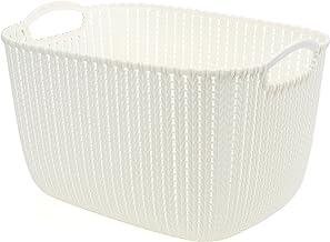HOUZE SB-1523 Braided Storage Basket with Handle,White, Large
