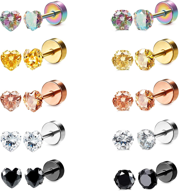 Besteel 10 Pairs Stainless Steel CZ Stud Earrings for Women Men Tragus Helix Round Heart Cubic Zirconia Flat Back Screw Back 20G Ear Piercing Set 2MM-5MM