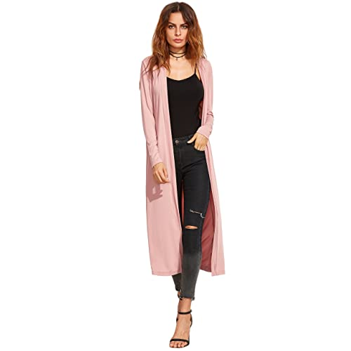 9b32f2c0f2fc Verdusa Women's Long Sleeve Open Front Long Maxi Cardigan Longline Duster  Coat