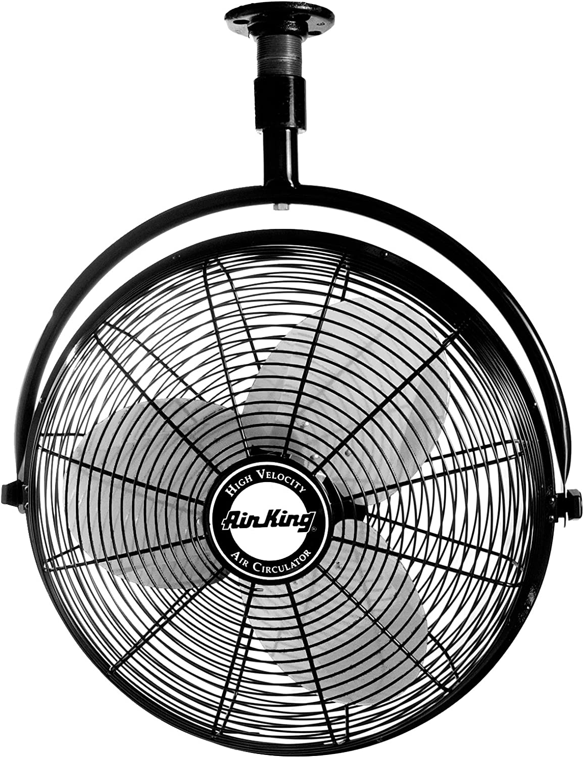 Air King 9320 20-Inch 1 6-Horsepower Industrial Grade Ceiling Mount Fan with 3,670-CFM, Black Finish