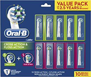 Oral-B Electric Toothbrush Cross Action & Floss Action Replacement Brush Heads, 10 Count