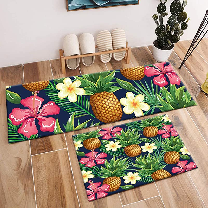 WSHINE 2pcs Kitchen Rug Pineapple Area Rug Set Green Leaves And Flowers In Forest Carpet Non Slip Runner Rug Kitchen Floor Mat 15 7x23 6inch 15 7x47inch
