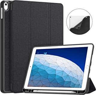 Soke iPad Air 3 Case 2019 with Pencil Holder, Premium Trifold Case, Strong Protection, Auto Sleep/Wake, Ultra Slim Soft TPU Back Cover for New iPad Air 3rd Generation 2019/iPad Pro 10.5 2017 (Black)