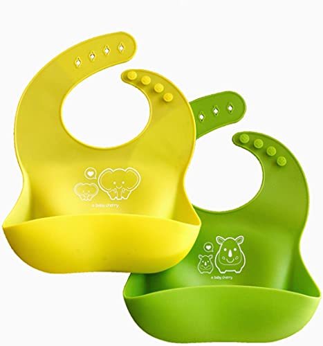 A Baby Cherry Bib 21st Century Waterproof Silicone Bib for feeding infants and toddlers (6M to 5 Yr) - Unisex Set of ...