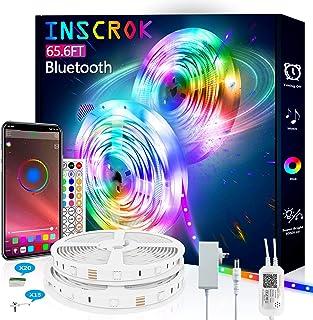 20m Bluetooth LED Light Strip,Inscrok LED String Lights, LED Strip Light Controlled by Smart Phone APP,Music Sync LED Ligh...