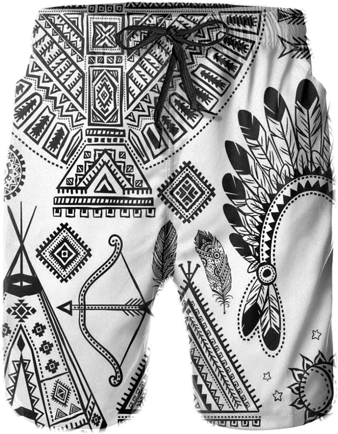 Native American Feather Head Band Ethnic Teepee Tent Bow and Arrow Art Print Drawstring Waist Beach Shorts for Men Swim Trucks Board Shorts with Mesh Lining,L