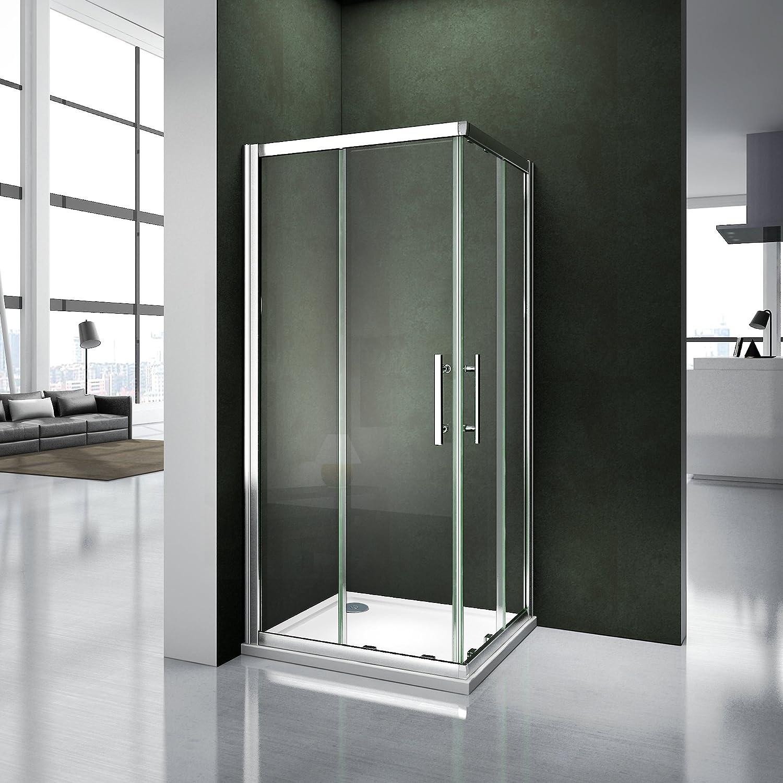 Porte de douche coulissante 90x90x195 cm Cabine de douche acc/ès dangle verre s/écurit