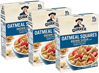 Quaker Oatmeal Squares Breakfast Cereal, Brown Sugar, 14.5oz Boxes (3 Pack)