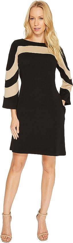 Christin Michaels - Erin Bell Sleeve A-Line Crepe Dress