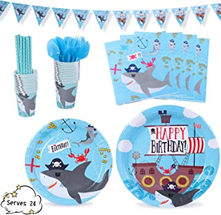 "Shark Party Supplies Decorations Pirate Corsair Ocean Dinnerware 169 Pcs Serves 24 Includes 7""&9"" Paper Plates Napkins Straws Knives Forks Cups Banner For Birthday, Shark Priate Themed Parties"