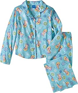 Disney Frozen Princess Elsa Girls 2 Piece Button Down Flannel Pajama Set