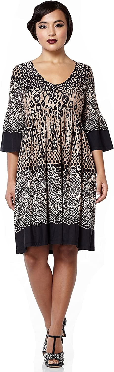 Gatsbylady london Amy Leopard Print Black Brown Bohemian Dress with Bell Sleeves