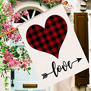 Broadsheet Valentine's Day Flag Love Heart Garden Flag, Outdoor Flags 28x40 Double Sided, Burlap House Flags for Holiday Valentine's Day Anniversary Wedding Birthday Decorations
