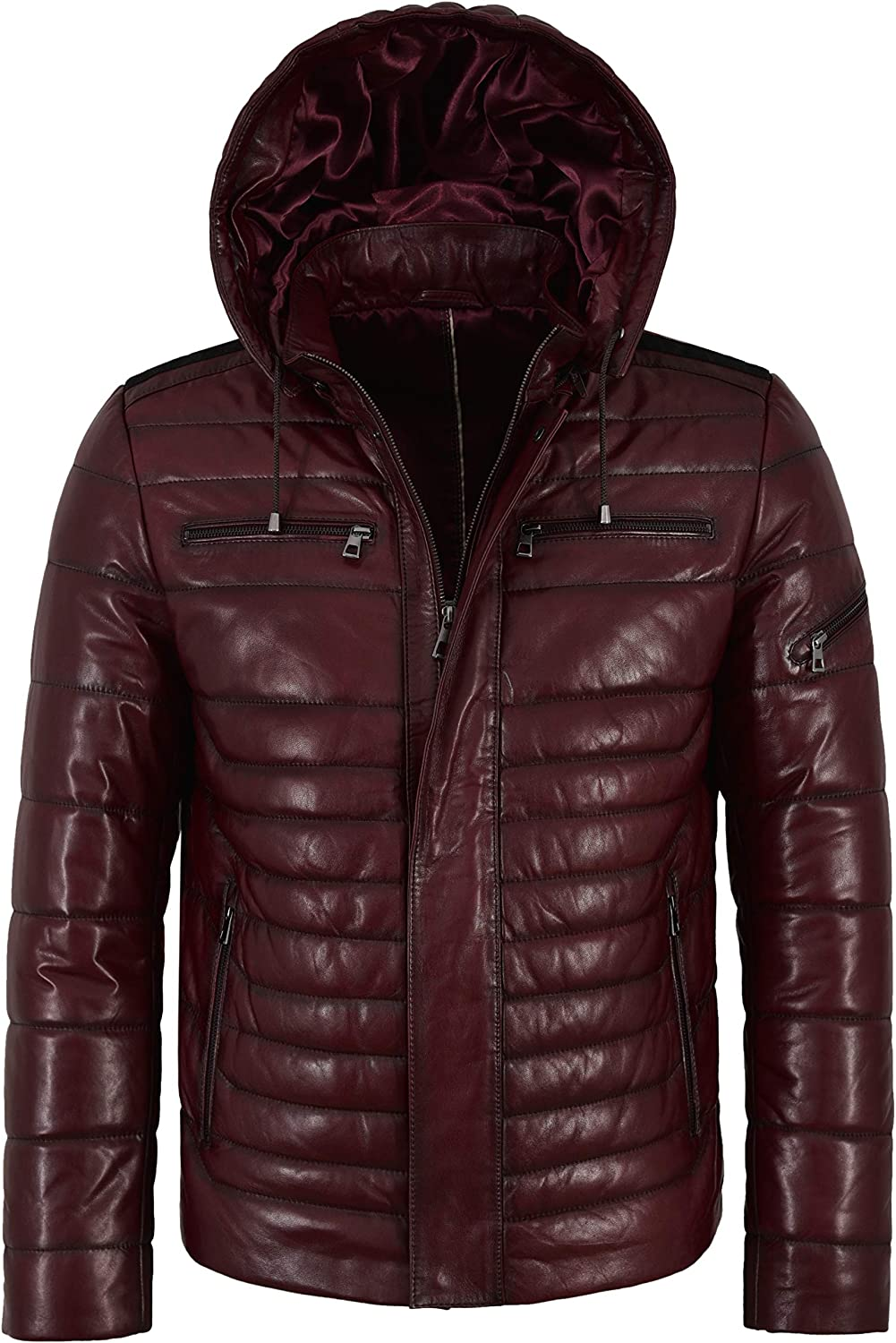 Men's Puffer Hooded Lambskin Leather Jacket Real Napa Fully Quilted Design 2006