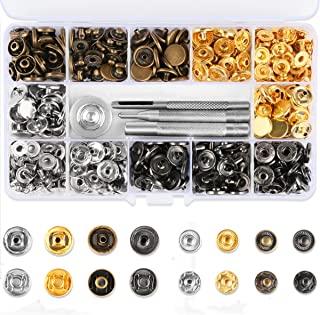 HAUSPROFI Leather Snap Fasteners Kit, 120 Sets Snap Fasteners Clothing Snaps Button Stud Buttons with Fixing Tool Kit for Leather Craft Jacket Wallet Handbag (12 mm)