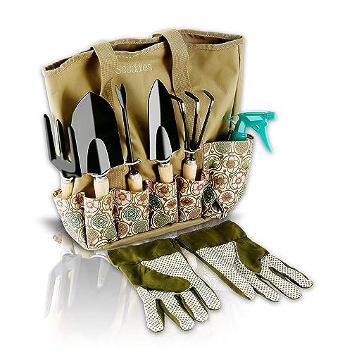 Scuddles Garden Tools Set   8 Piece Heavy Duty Gardening Tools With Storage  Organizer, Ergonomic