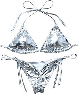 6f72e9b8cf1a3 OMKAGI Ladies Liquid String Bikini Metallic Thong Bathing Suit 2 Pieces  Swimsuit