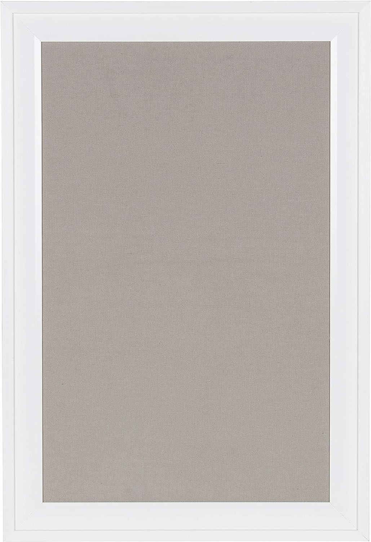 DesignOvation Bosc Framed Gray Linen Fabric Pinboard, 18.5x27.5,