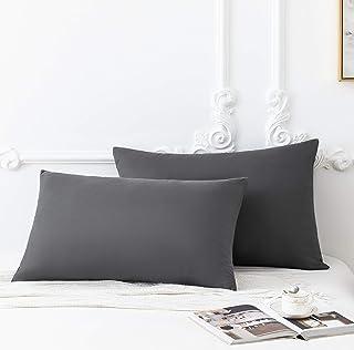 MOHAP Lot de 2-100% Coton Taies d'oreiller 50x70cm Gris avec la Fermeture Eclair Housse d'oreiller