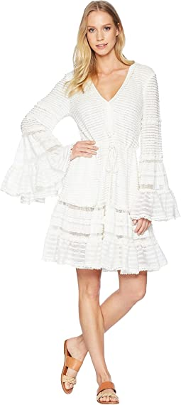 Knit Combo V-Neck Tiered & Tasseled Dress Cover-Up