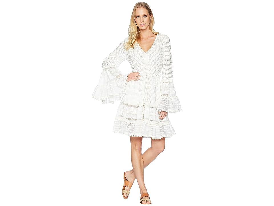 Jonathan Simkhai Knit Combo V-Neck Tiered Tasseled Dress Cover-Up (Ivory) Women
