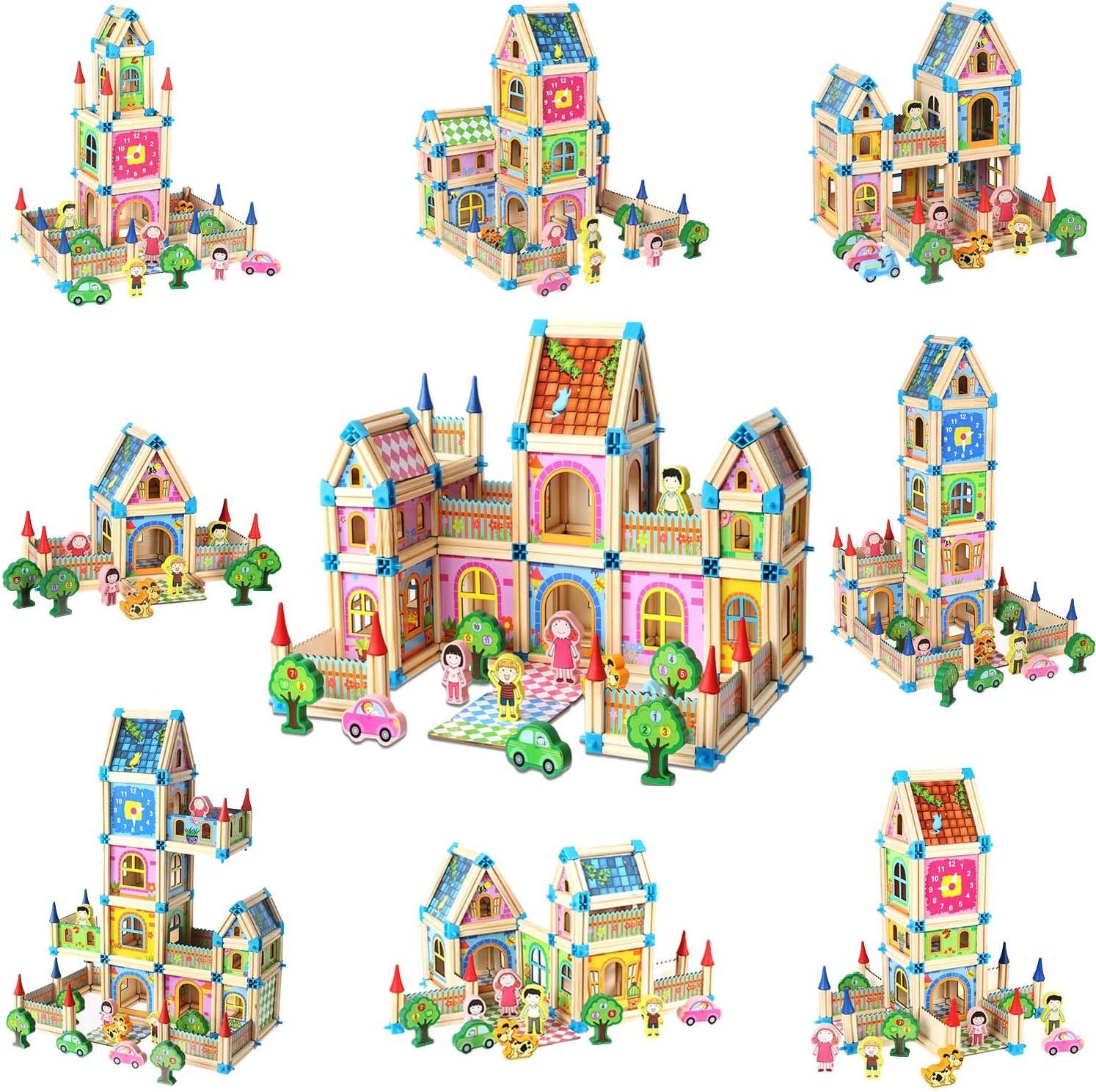 Details about  /Colorful Wooden Building Blocks Castle Set Construct Kids Children Toys Gift CO