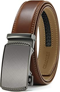 CHAOREN Men's Automatic Belt for Men, Ratchet Leather Belt 35 mm Wide with Gift Box - Brown - X-Large