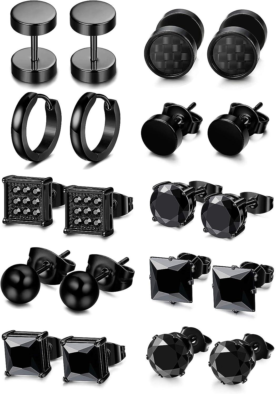 FIBO STEEL 10 Pairs Stainless Steel Black Stud Earrings for Men Women Huggie Earring Ear Piercing Set Hoop