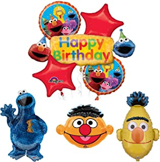 Mayflower Products Sesame Street Cookie Monster Bert And Ernie Birthday Party Supplies Balloon Bouquet Decorations