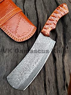 JNR Traders Handmade Damascus Steel Cleaver Chopper Knife Rain Drop Pattern 12 Inches VK6137