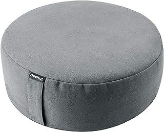 Reehut Zafu Yoga Meditation Bolster Pillow Cushion Filled with Buckwheat - Round Organic Cotton Or Hemp