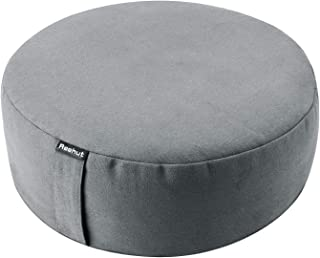 REEHUT Zafu Yoga Meditation Cushion, Round Meditation Pillow Filled with Buckwheat, Zippered Organic Cotton Cover, Machine Washable - 4 Colors and 3 Sizes