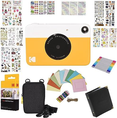 new arrival Kodak 2021 Printomatic Instant Camera Gift Bundle + Zink Paper (20 popular Sheets) + 9 Unique Colorful Sticker Sets + Case + Markers + Hanging Frames + Photo Album + Accessories outlet online sale