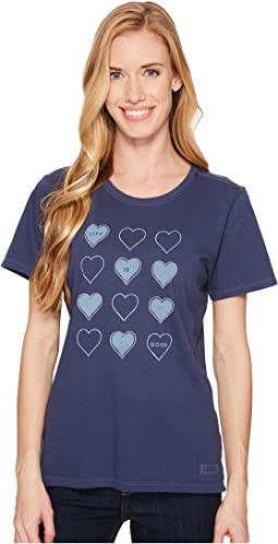 Life is Good - Tossed Hearts Crusher Tee